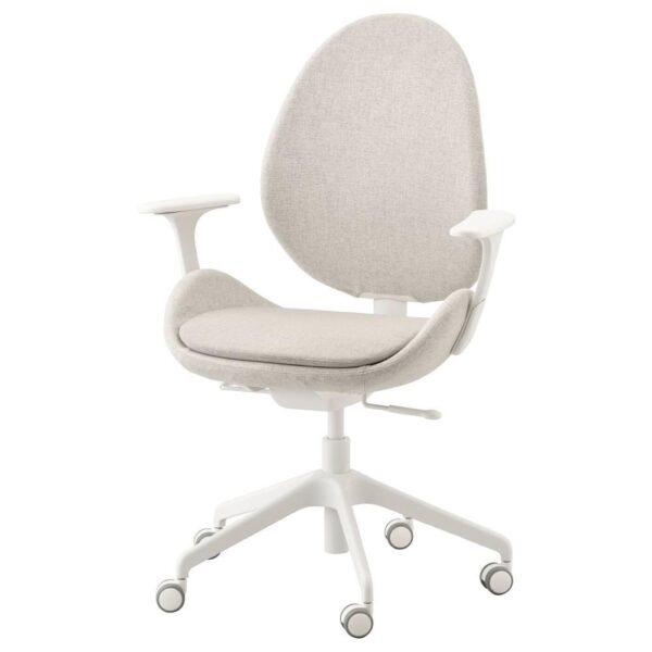 ХАТТЕФЬЕЛЛЬ Рабочий стул с подлокотниками, Гуннаред бежевый, белый - 692.521.23