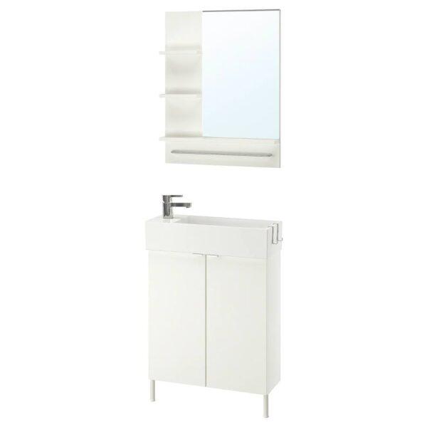 ЛИЛЛОНГЕН / ЛИЛЛОНГЕН Комплект мебели для ванной,5 предм., белый, ЭНСЕН смеситель, 62 см - 793.045.17