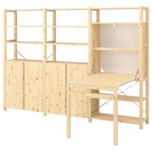 ИВАР Стеллаж со столом/шкафами/полками, сосна, 259x30-104x179 см - 193.047.56
