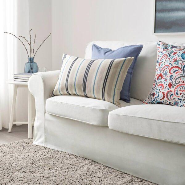 СМАЛСТЭКРА Чехол на подушку, бежевый/синий, в полоску, 40x65 см - 404.474.28