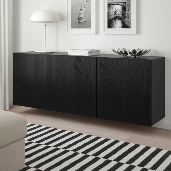 БЕСТО Комбинация настенных шкафов, черно-коричневый, тиммервикен черный, 180x42x64 см - 593.017.13