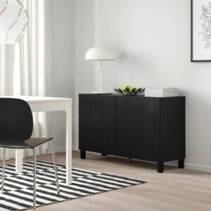 БЕСТО Комб для хран с дверц/ящ, черно-коричневый, тиммер/стуббар черный, 120x42x74 см - 293.016.96