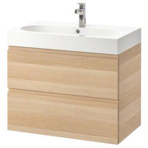 ГОДМОРГОН / БРОВИКЕН Шкаф для раковины с 2 ящ, под беленый дуб, БРОГРУНД смеситель, 80x48x68 см - 592.924.07