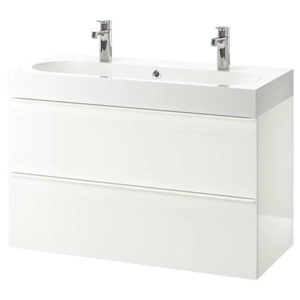 ГОДМОРГОН / БРОВИКЕН Шкаф для раковины с 2 ящ, глянцевый белый, БРОГРУНД смеситель, 100x48x68 см - 192.924.85