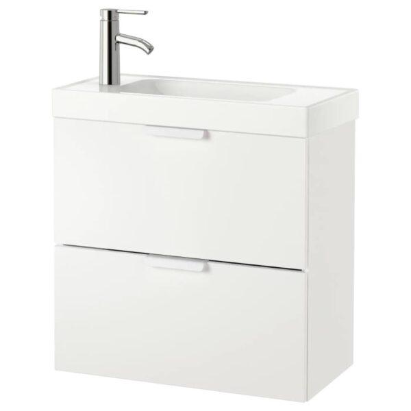 ГОДМОРГОН / ХАГАВИКЕН Шкаф для раковины с 2 ящ, белый, ДАЛЬШЕР смеситель, 63x34x65 см - 992.922.31