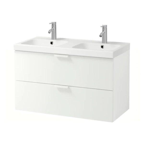 ГОДМОРГОН / ОДЕНСВИК Шкаф для раковины с 2 ящ, белый, ДАЛЬШЕР смеситель, 103x49x64 см - 292.930.74