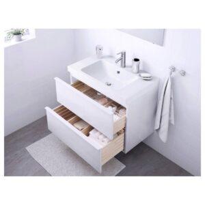 ГОДМОРГОН / ОДЕНСВИК Шкаф для раковины с 2 ящ, глянцевый белый, ДАЛЬШЕР смеситель, 83x49x64 см - 092.928.91