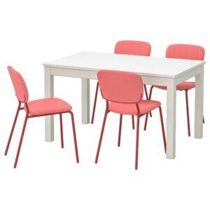 ЛАНЕБЕРГ / КАРЛ-ЯН Стол и 4 стула, белый, красный красный, 130/190x80 см - 093.047.90