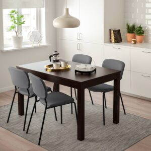 ЛАНЕБЕРГ / КАРЛ-ЯН Стол и 4 стула, коричневый, темно-серый темно-серый, 130/190x80 см - 993.047.76
