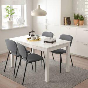 ЛАНЕБЕРГ / КАРЛ-ЯН Стол и 4 стула, белый, темно-серый темно-серый, 130/190x80 см - 093.047.85