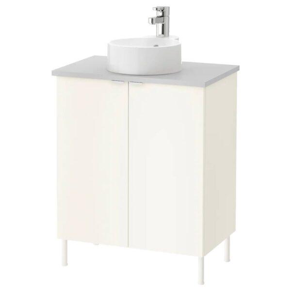 ЛИЛЛОНГЕН/ВИСКАН / ГУТВИКЕН Шкаф под раковину с 2 дверц, белый, серый ЭНСЕН смеситель, 62x40x87 см - 392.946.43
