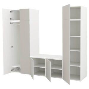 ОПХУС Гардероб с 8 дверями, белый, Скатваль светло-серый, 260x57x221 см - 992.984.69