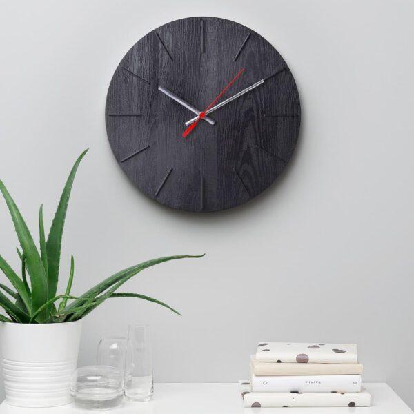 ВОКАЛИССА Настенные часы, под дерево, черный, 30 см - 104.812.54