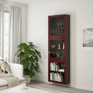 БЕСТО Комбинация д/хранения+стекл дверц, черно-коричневый глассвик/сталларп, темный красно-коричневый прозрачное стекло, 60x22x202 см - 093.019.23