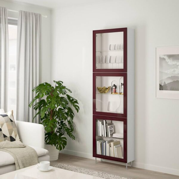 БЕСТО Комбинация д/хранения+стекл дверц, белый глассвик/сталларп, темный красно-коричневый прозрачное стекло, 60x22x202 см - 993.019.14