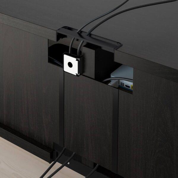 БЕСТО Тумба д/ТВ с ящиками, черно-коричневый СЕЛЬСВ/СТАЛЛАРП, глянцевый темный красно-коричневый, 120x42x48 см - 892.979.60