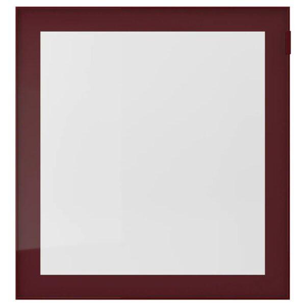 ГЛАССВИК Стеклянная дверь, темный красно-коричневый, прозрачное стекло, 60x64 см - 904.443.52