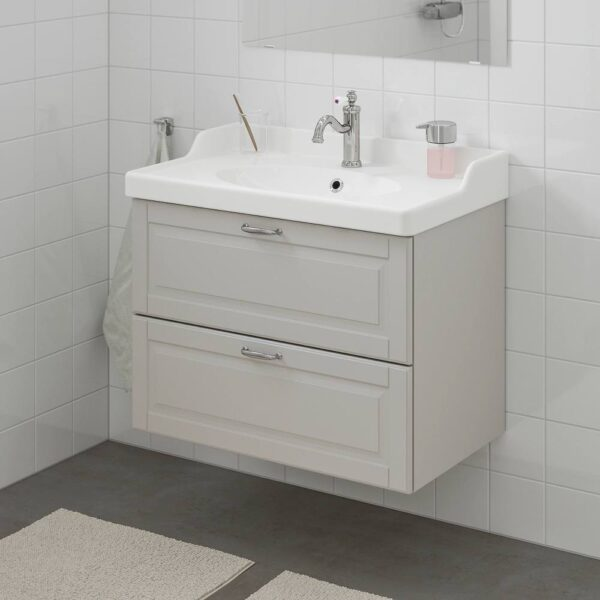 ГОДМОРГОН / РЭТТВИКЕН Шкаф для раковины с 2 ящ, Кашён светло-серый, ХАМНШЕР смеситель, 82x49x68 см - 992.933.82