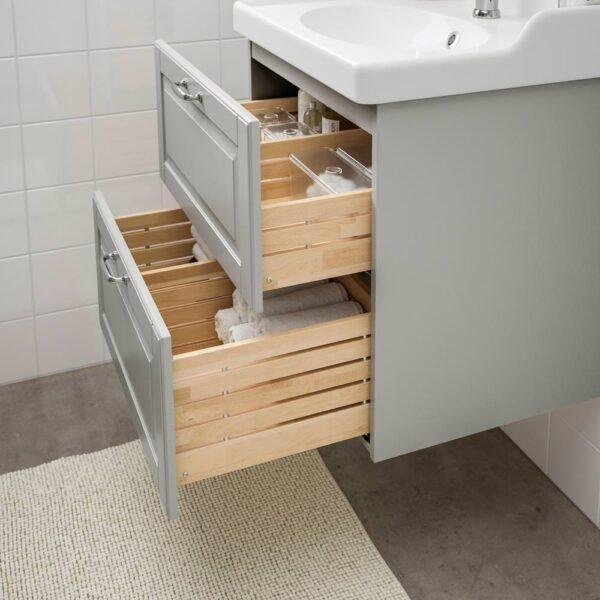 ГОДМОРГОН / РЭТТВИКЕН Шкаф для раковины с 2 ящ, Кашён светло-серый, ХАМНШЕР смеситель, 62x49x68 см - 592.933.55