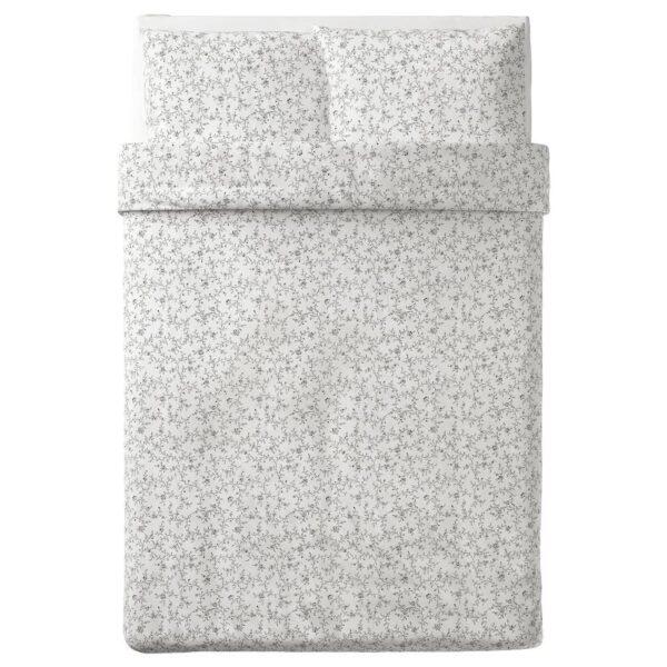 КОППАРРАНКА Пододеяльник и 2 наволочки, белый, темно-серый, 200x200/50x70 см - 704.496.66
