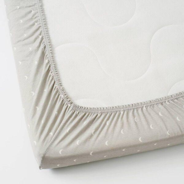 ЛЕНАСТ Простыня натяжн для кроватки, точечный, луна, 60x120 см - 804.576.08