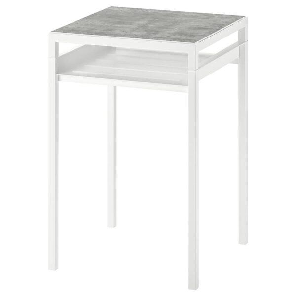НИБОДА Столик с двусторонней столешницей, светло-серый под бетон, белый, 40x40x60 см - 404.526.36