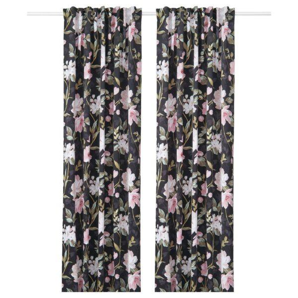 РОЗЕНМОТТ Гардины, блокирующие свет, 1 пара, черный, с цветочным орнаментом, 145x300 см - 704.655.62