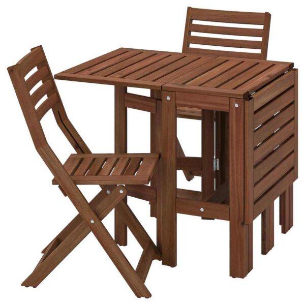 ЭПЛАРО Стол+2 складных стула,д/сада, коричневая морилка - 193.265.41