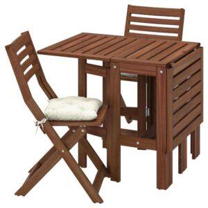 ЭПЛАРО Стол+2 складных стула,д/сада, коричневая морилка, Куддарна бежевый - 993.284.09