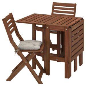 ЭПЛАРО Стол+2 складных стула,д/сада, коричневая морилка, Куддарна серый - 193.284.32