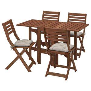 ЭПЛАРО Стол+4 складных стула, д/сада, коричневая морилка, Куддарна серый - 493.284.78