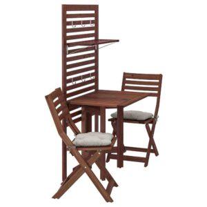 ЭПЛАРО Панель+стол+2 стула, коричневая морилка, Куддарна серый - 592.914.22
