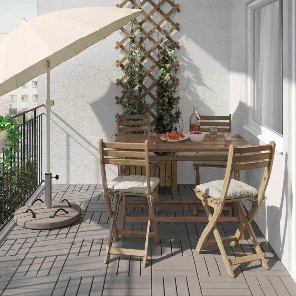 АСКХОЛЬМЕН Стол+4 складных стула, д/сада, серо-коричневая морилка, Куддарна серый - 192.861.92