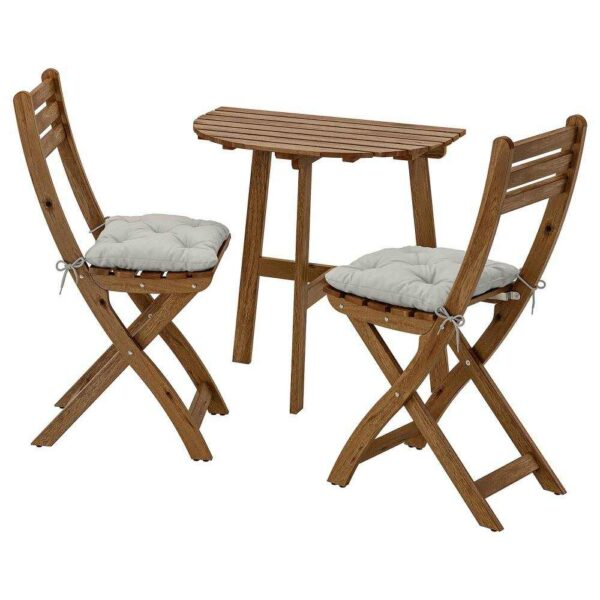 АСКХОЛЬМЕН Стол+2 складных стула, д/сада, серо-коричневая морилка, Куддарна серый - 792.860.09