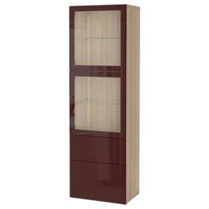 БЕСТО Комбинация д/хранения+стекл дверц, под беленый дуб Сельсвикен, темный красно-коричневый прозрачное стекло, 60x42x193 см - 593.011.57