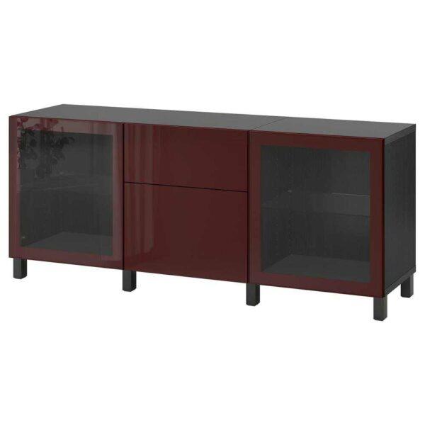 БЕСТО Комбинация для хранения с ящиками, черно-коричневый сельсв/стуббарп, темный красно-коричневый прозрачное стекло, 180x42x74 см - 893.027.11