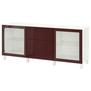 БЕСТО Комбинация для хранения с ящиками, белый сельсв/стуббарп, темный красно-коричневый прозрачное стекло, 180x42x74 см - 293.027.14