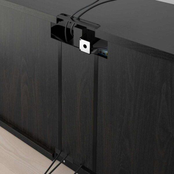БЕСТО Тумба под ТВ, с дверцами, черно-коричневый СЕЛЬСВ/СТАЛЛАРП, глянцевый темный красно-коричневый, 120x42x74 см - 392.990.42