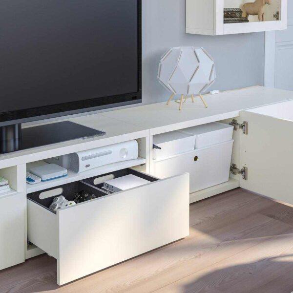 БЕСТО Шкаф для ТВ, комбин/стеклян дверцы, белый Лаппвикен, Сельсвикен темный красно-коричневый, 240x42x190 см - 893.026.26