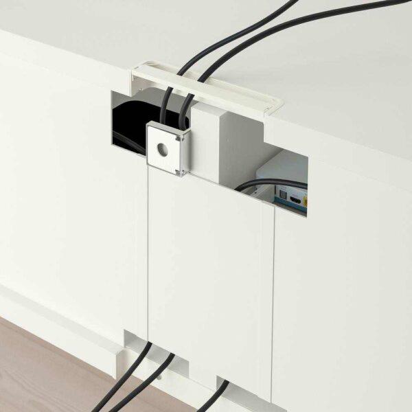 БЕСТО Шкаф для ТВ, комбин/стеклян дверцы, Ханвикен белый прозрачное стекло, 240x40x230 см - 592.820.12