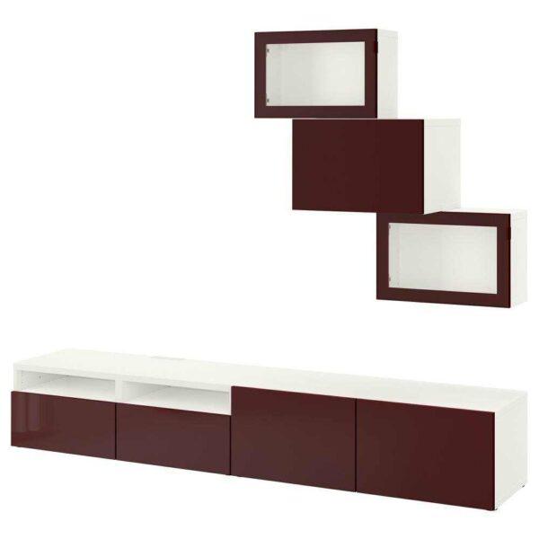 БЕСТО Шкаф для ТВ, комбин/стеклян дверцы, белый Сельсвикен, темный красно-коричневый прозрачное стекло, 240x42x190 см - 793.026.36