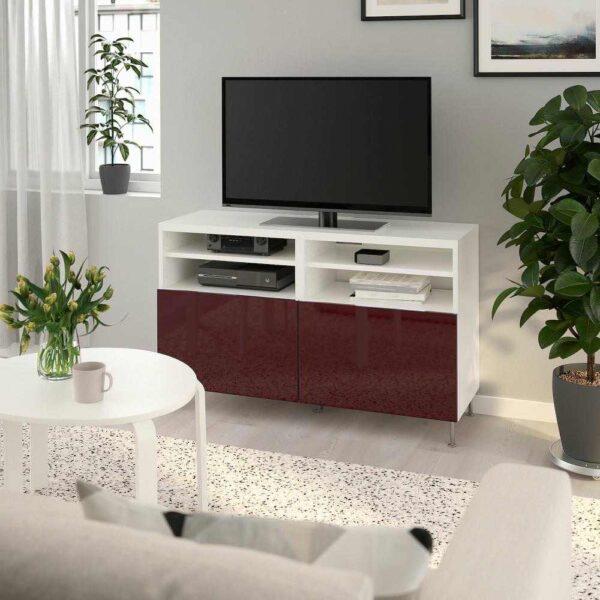 БЕСТО Тумба под ТВ, с дверцами, белый СЕЛЬСВ/СТАЛЛАРП, глянцевый темный красно-коричневый, 120x42x74 см - 692.990.45