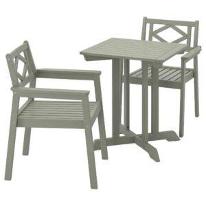БОНДХОЛЬМЕН Садовый стол и 2 легких кресла, серый морилка - 393.294.64