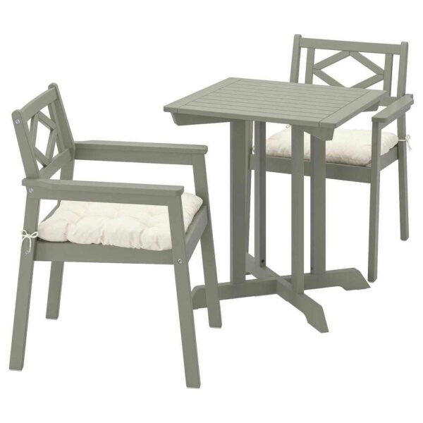 БОНДХОЛЬМЕН Садовый стол и 2 легких кресла, серый морилка, Куддарна бежевый - 193.299.93