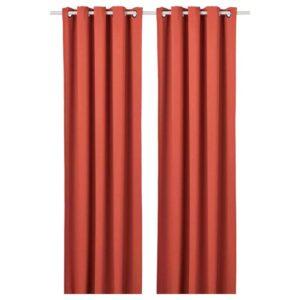 ХИЛЛЕБОРГ Затемняющие гардины, 1 пара, коричнево-красный, 145x300 см - 304.655.64