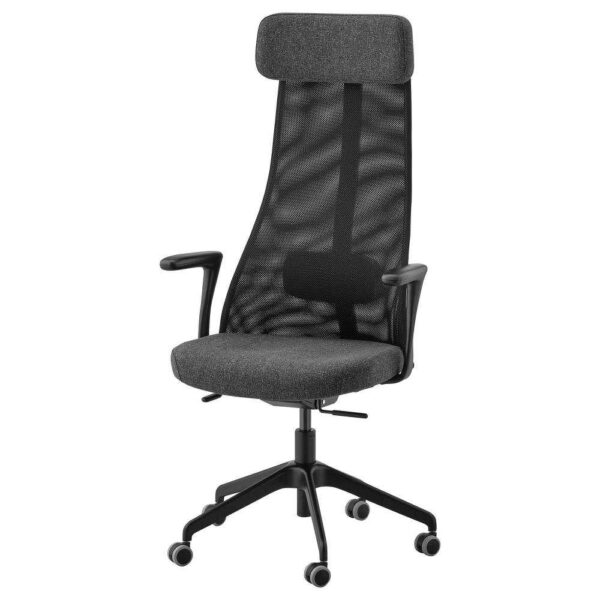 ЭРВФЬЕЛЛЕТ Рабочий стул с подлокотниками, Гуннаред темно-серый, черный - 493.863.69
