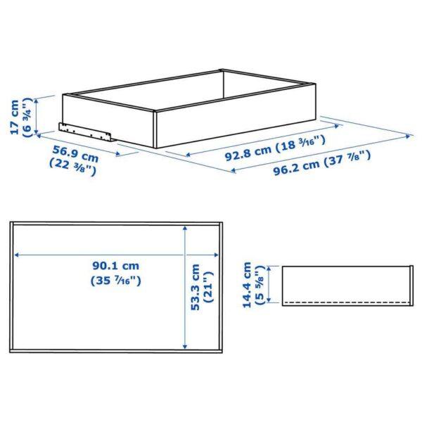 КОМПЛИМЕНТ Ящик с фронтальной панелью, белый, 100x58 см - 904.466.00