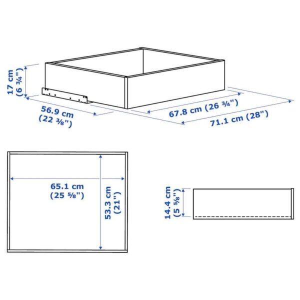 КОМПЛИМЕНТ Ящик/стеклянная фронтальная панель, белый, 75x58 см - 204.470.28