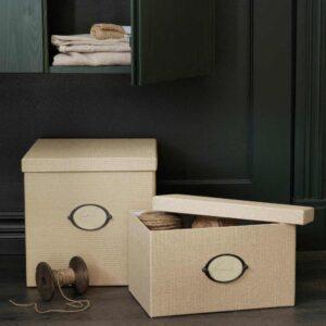 КВАРНВИК Коробка с крышкой, бежевый, 32x35x32 см - 304.594.88