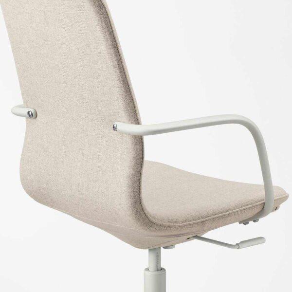 ЛОНГФЬЕЛЛЬ Рабочий стул с подлокотниками, Гуннаред бежевый, белый - 593.291.42